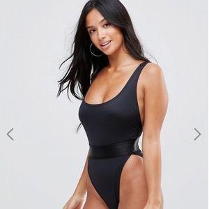 ASOS High Leg Elastic Waist Swimsuit - Black